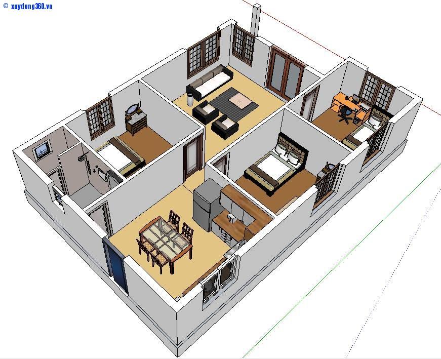 Thiết kế hình ảnh 3d nhà cấp 4 mới nhất